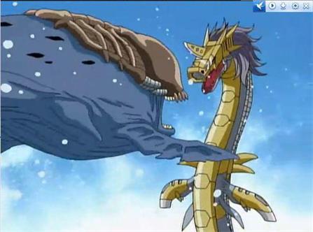 海龙 钢铁/钢铁海龙兽将巨鲸兽打死后,战斗暴龙兽愤怒的一击将钢铁海龙兽...